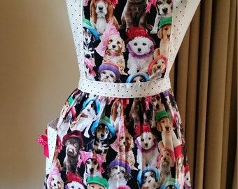 Candy striper style apron dogs print contrasting polka dot straps Cotton fabric Australian handmade