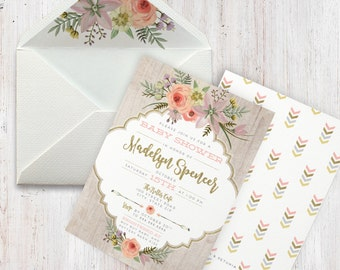 Rustic Boho Watercolor  Baby Shower Invitation