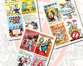 Wizard of Oz Book Cover Printables by L. Frank Baum, POSTCARD SIZE,  (3.5 x 5 Inch  or 12.7 x 8.8 cm), 12 Total
