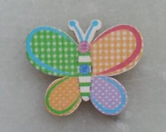 papillon multicolore  en bois 30*35mm