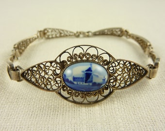 Vintage Sterling Filigree Dutch Delft Tile Bracelet