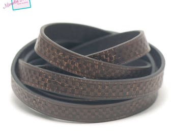 """1 m cord strap split leather 10 x 2 mm """"chessboard"""", Brown"""