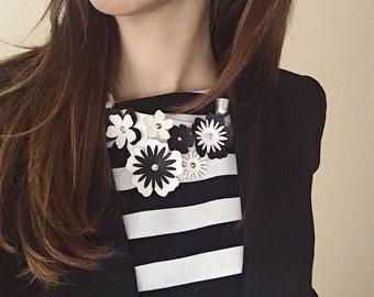 Bouquet necklace - laser cut faux leather necklace