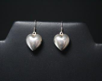 Sterling Silver Puffy Heart Dangle Earrings, Heart Earrings, Sterling Silver Heart Jewelry, Sterling Heart Dangle Earrings, Simple Sterling