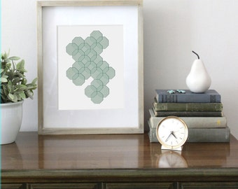 8 x 10 Honeycomb Illustration, Digital Download, Mint