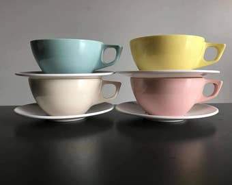 Melmac Coffee Cups and Saucers / Set of Four Plastic Camping Coffee Cups / Stetson Melamine Pastel Dinnerware in Blue Yellow Pink Cream