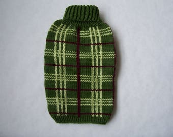 Handknitted Turtleneck Check dog sweater.Dog Sweater in classic HeritageCheck for EX-Small,Small dog/cat.Plaid knitted sweater for small dog