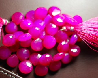 8 Inch Strand -Hot Pink Chalcedony Faceted Heart Briolettes Size 11mm Approx