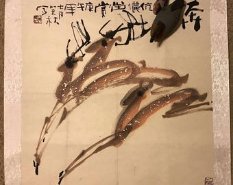 Running deer. Chinese painting from a Chinese famous painter 邱笑秋,