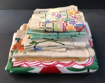 Collection of Vintage Hand Embroidered Table Linens Tablecloth, Linen Napkins, Placemats, Coasters