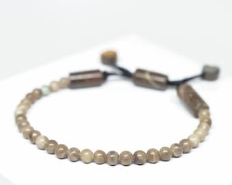 "Petoskey Stone Beaded Bracelet - Adjustable up to 8 1/2"""