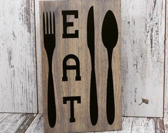 Eat Sign, Kitchen Sign, Wood Sign, Home Decor, Kitchen Decor, Wall Hanging, Diner Sign, Restaurant Sign, Eat Wall Hanging, Restaurant Decor