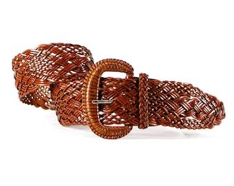 Deadstock VINTAGE: Wide Brown Woven Blet - Beaded Belt - SKU 19-B3-00011536