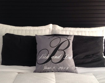 """Custom monogrammed his and hers pillow   18""""x18"""""""