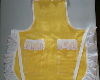 Full Yellow Apron, Gift for Mom, Repurposed Apron, Towel Apron, Ready to Ship