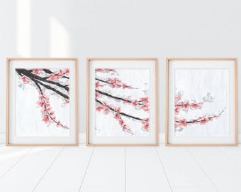 Cherry Blossom Art, Panel Art, Cherry Blossom Painting, Pink Flower Art, Tree Art, Blossom Tree, Home Decor, Home Wall Art, Wedding Gift