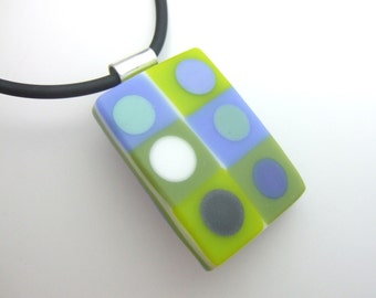 Blue for Greens Tic Tac Pendant, Handmade Fused Glass Jewelry
