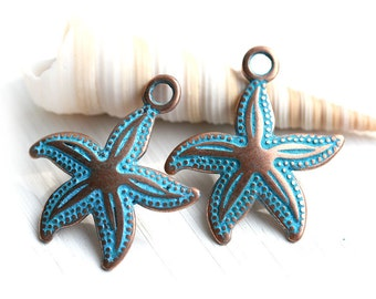 Copper Starfish charm Metal Seastar jewelry charms Blue patina starfish bead Greek Metal casting Starfish pendant - 23mm - 2Pc - F474