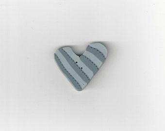 Clearance -Blue Striped Heart #nh1006.b  from Just Another Button Co.