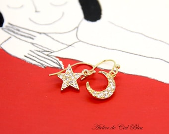 Moon Star Earrings, Gold Moon Star Earrings, Gold Star Moon Earrings, Pave Moon Star Earrings, Rhinestone Moon Star Earrings