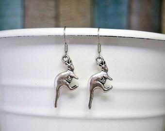 Kangaroo Earrings, Kangaroo Jewelry, Kangaroo Gift, Australia Jewelry, Australia Gift, Silver Earrings, Charm Earrings, Nickel Free