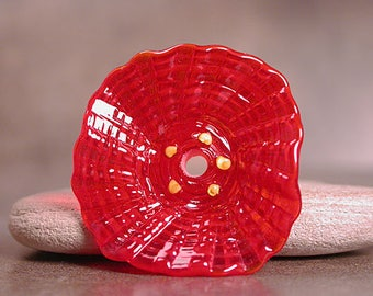Glass Flower Focal Bead in Translucent Red, Lampwork Flower, Sculptural Flower, Divine Spark Designs, SRA