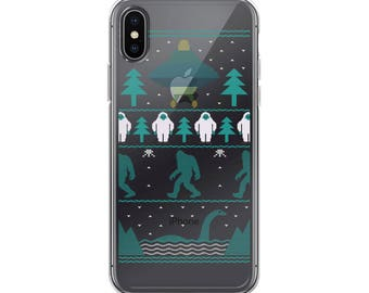 Sci Fi Bigfoot Aliens Yeti Ugly Christmas Sweater Funny iPhone Case