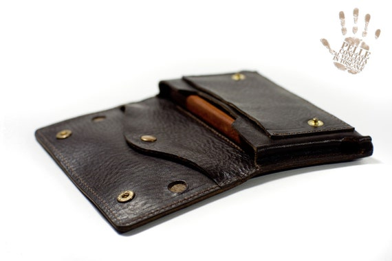iPhone 6 leather wallet Genuine Leather Sleeve for use as a belt pouch col D. BROWN