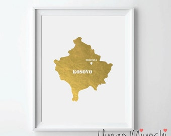 Kosovo Map Gold Foil Print, Gold Print, Map Custom Print in Gold, Illustration Art Print, Pristina Kosovo Map Gold Foil Art Print