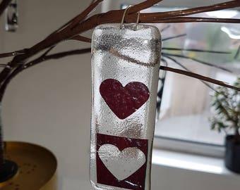Fused Glass Heart Hangers - Copper