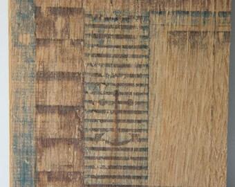 Anchor Shutter on Wood Block by Nastazja Maria Photography, Cedar shingles, window, Nautical, Oak, Photo on Wood, Ink transfer, Rustic Art