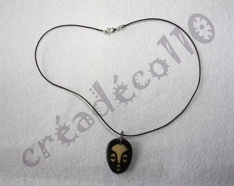 African bone mask pendant necklace