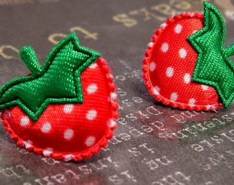 strawberry patch. titanium post earrings