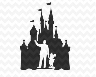 Disney Castle svg, Castle with Walt Disney and Mickey Mouse SVG , dxf and png instant download Disney files for Cricut and Silhouette