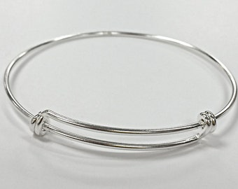 Simple Sterling Silver Plain 3mm Bangle K4UnJJlFW