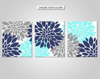 Dahlia Flower Burst Wall Art Decor - Dahlia Flower Burst, Aqua, Navy Blue, Grey - Flower Wall Art - Prints - Canvas - Printable