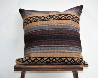 Grey and Brown Mexican  Design Blanket Pillow Cover, Bohemian Pillow, Ethnic Pillow Cover, Boho Pillow Case, CasualPillow Case