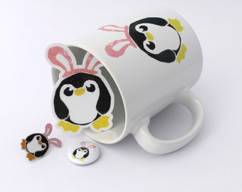 Pengbunny Penguin Mug, Pin and Sticker Gift Set