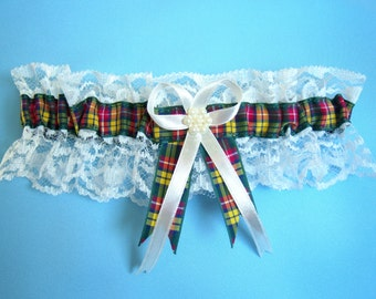 Buchanan tartan wedding bridal garter, ivory or white lace.