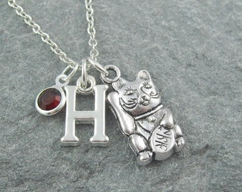Maneki neko cat necklace, japanese lucky cat, silver chain, initial necklace, personalized jewelry, gift for her, maneki cat, waving cat