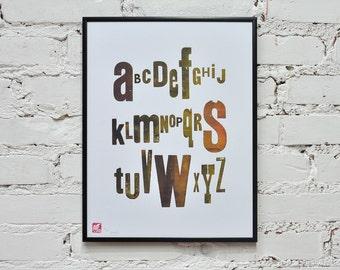 Alphabet - letterpress poster