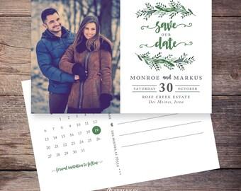 Greenery Save the Date Postcard, Garden Wedding, Botanical Save-the-Date Card, Postcard, Photo, DIY Printable, Digital File - Monroe