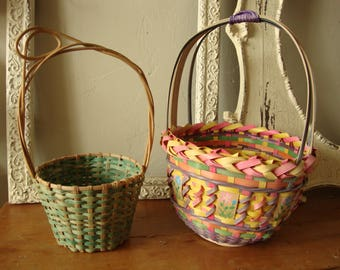 Vintage baskets For Easter or Spring candy containers Shabby chic green baskets home decor storage baskets Shabby chic green and multi color
