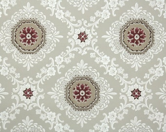 1940s Vintage Wallpaper by the Yard - Brown Dark Red and White Geometric