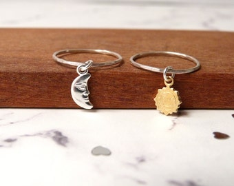 Moon and sun rings, matching friend stack ring, dangle charm, sterling silver