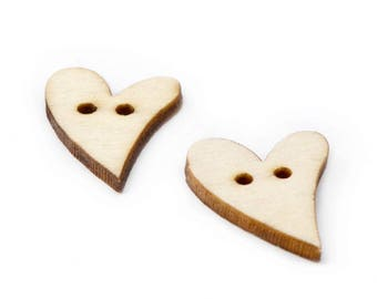 buttons in sets of 2 natural wooden hearts