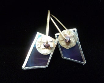 Purple irridized glass earrings with silver disc