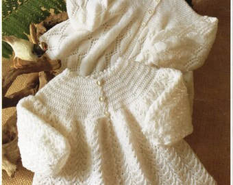 crochet matinee coat crochet pattern matinee coat knitting pattern newborn 16-20 inch 2 ply baby crochet pattern baby knitting pattern PDF