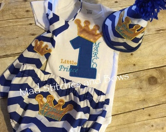 Smash cake little prince crown birthday shirt and bloomers