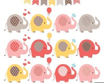 Elephants Clipart, Warm Color Elephants Clipart